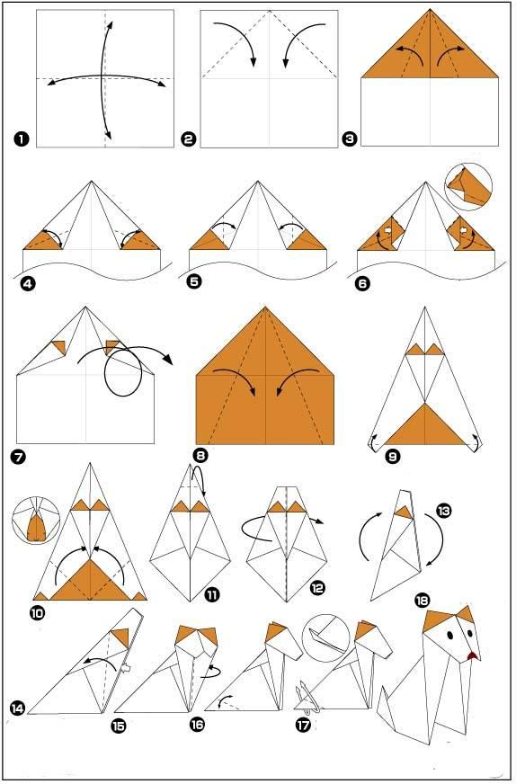 Как сделать собаку из бумаги, техника оригами