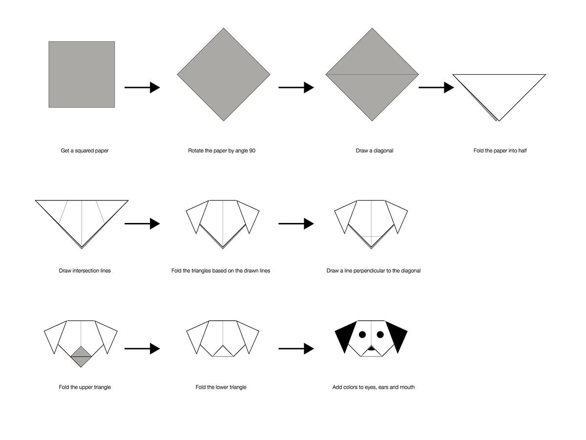 Собака из модулей оригами схема подробная сборка. модульное оригами собачка. схема сборки. мастер-класс