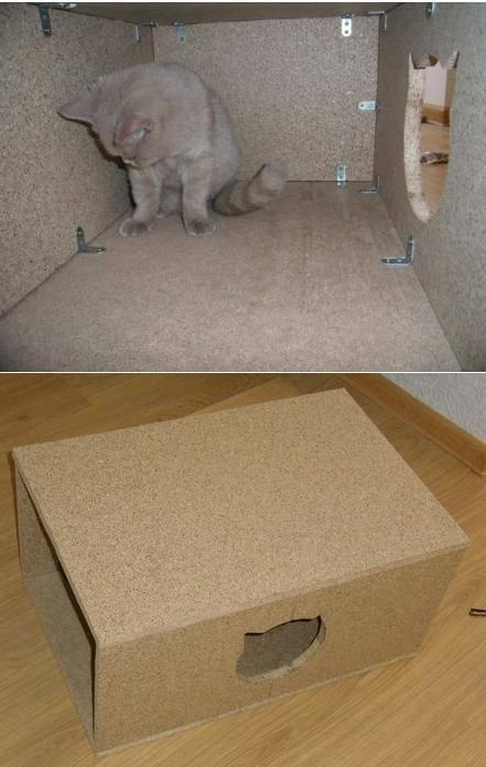 Домик для кошек своими руками из коробок и картона: как сделать лежанку и другие варианты
