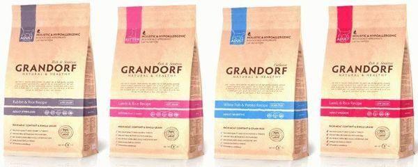 Корм грандорф (grandorf) для кошек: сухие и влажные составы, отзывы, особенности применения