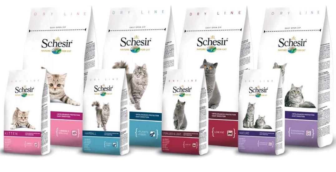 Обзор корма для кошек schesir (шезир): виды, состав, отзывы