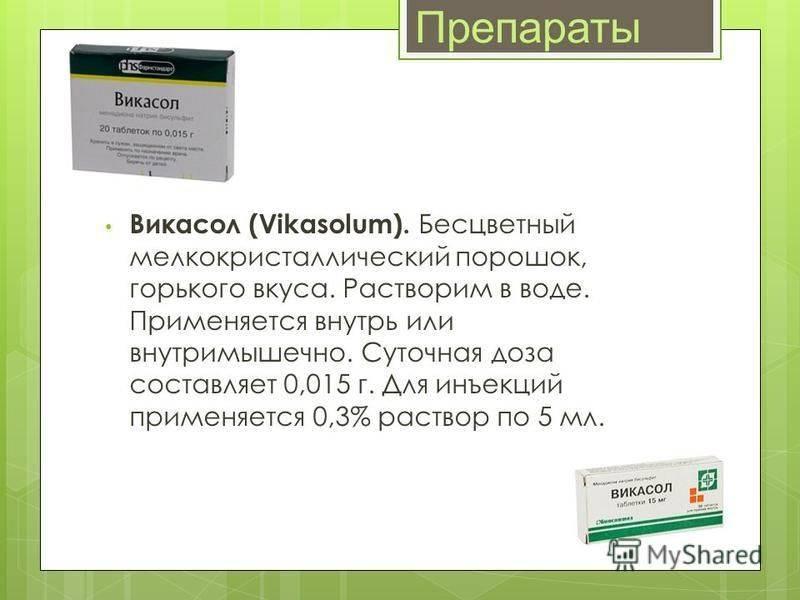 Викасол (таблетки, ампулы для инъекций) для собак и кошек | отзывы о применении препаратов для животных от ветеринаров и заводчиков
