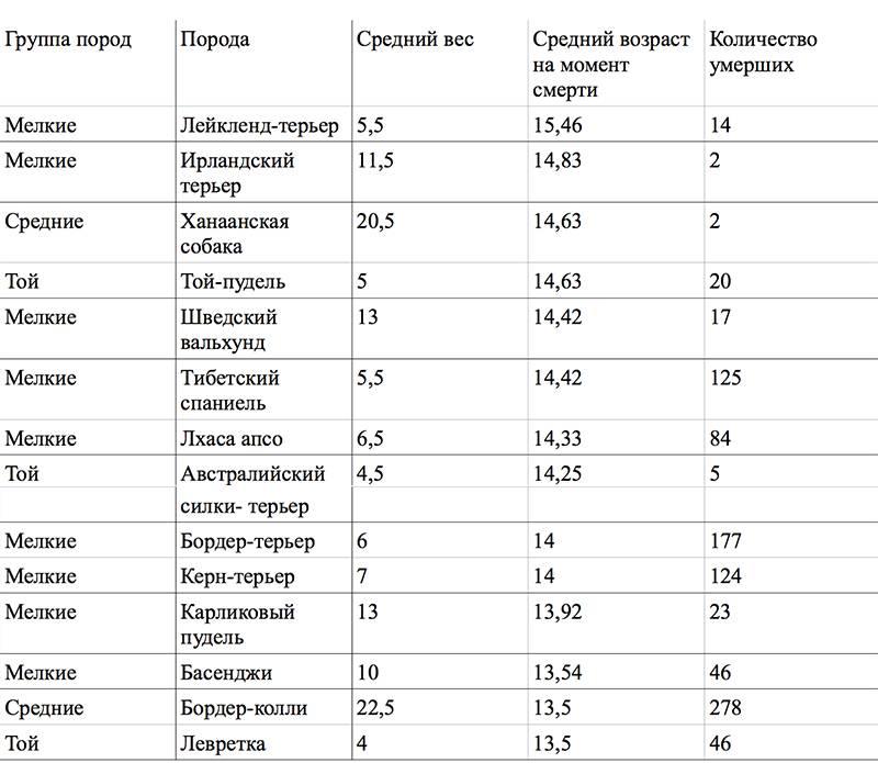 Сравнение возраста собаки и человеческих мерок: сведенные данные в таблице