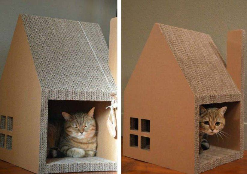Домик для кошки из коробки
