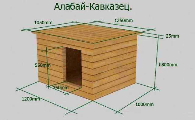 Размер будки и вольера для алабая