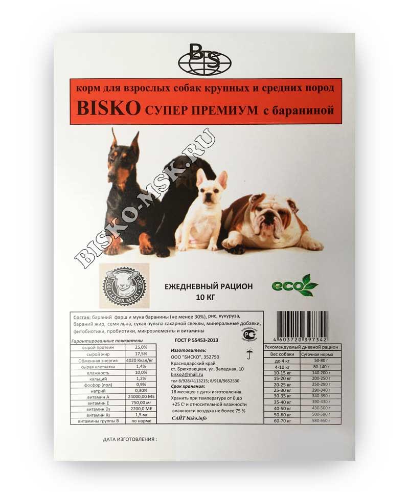 Корм для собак биско: состав, отзывы