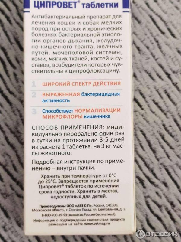 Инструкция по применению ветеринарного препарата Ципровет