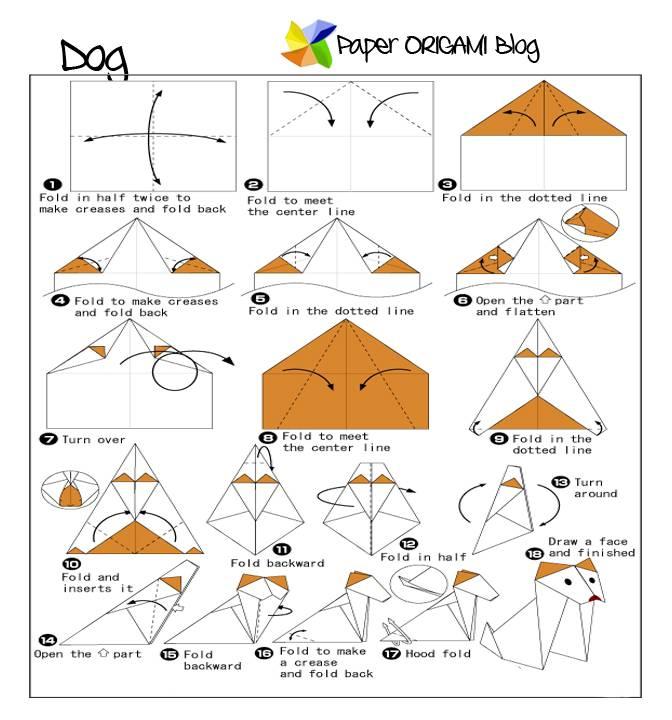 Модульное оригами сборка щенок. оригами собачка из бумаги поэтапно