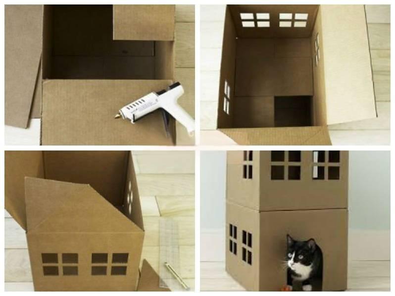 Домик для кошки из коробки | самодельный, как сделать, видео