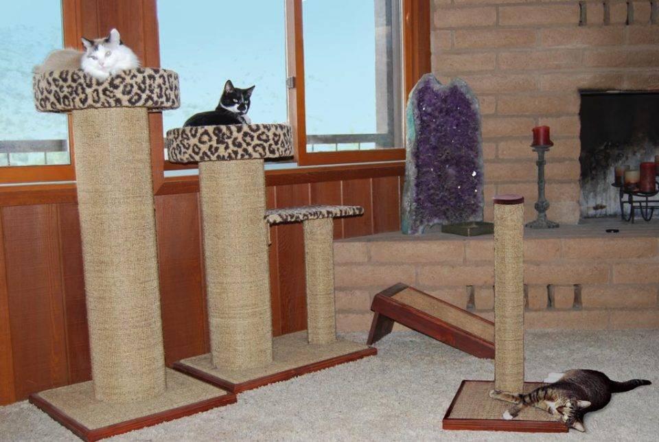 Когтеточка для кошек: примеры как сделать домик